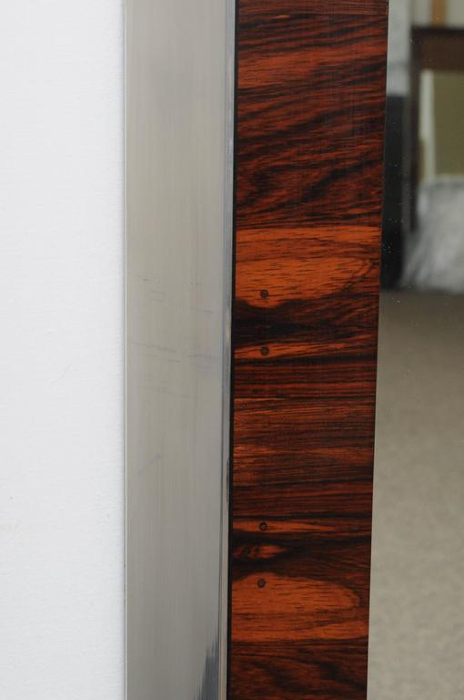 Rosewood And Chrome Wall Mirror Mid Century Modern