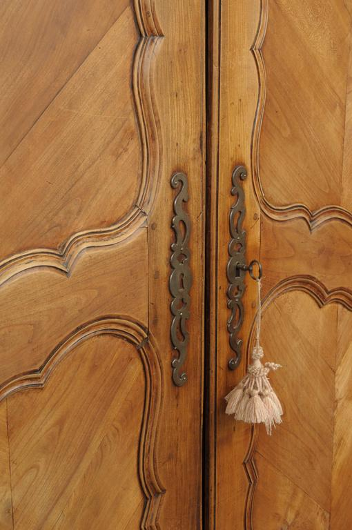 Carved Large Country French Louis XV Style Wardrobe Cabinet Walnut Bonnet Top Armoire For Sale