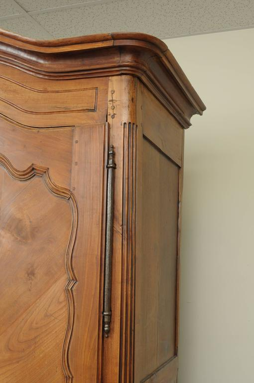 Large Country French Louis XV Style Wardrobe Cabinet Walnut Bonnet Top Armoire For Sale 1