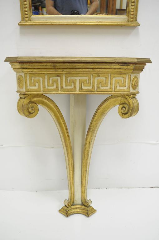 Italian Neoclassical Style Gold Greek Key Wall Mount Console Table