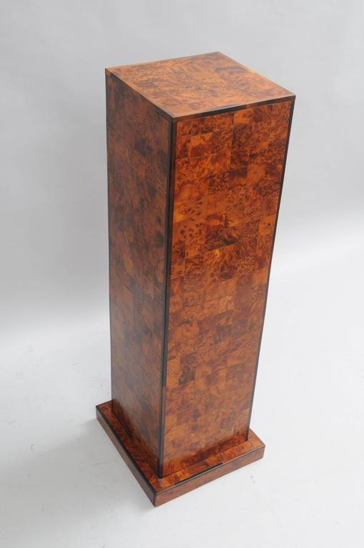 Burl Wood Patchwork Pedestal Stand Burl Wood and Rosewood Trim Square Column In Good Condition For Sale In Philadelphia, PA