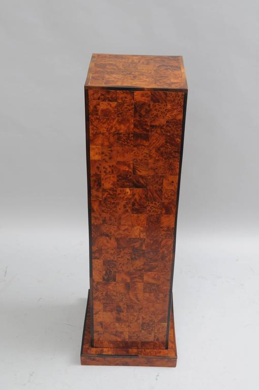 "Beautiful 38"" vintage inlaid burl wood patchwork pedestal stand. Item features solid wood construction, beautiful burl patchwork inlays, rosewood trim, square top and base, very attractive form. Possibly Italian. Item will work well in many decors"
