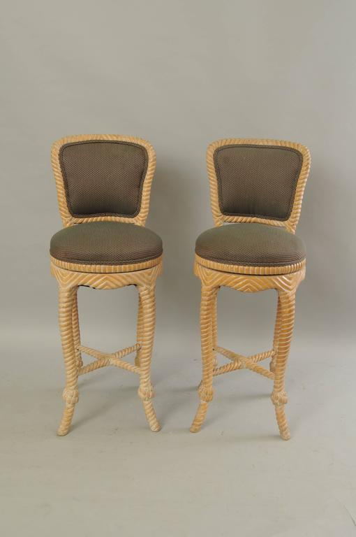 Pair of Vintage Italian Carved Wood Rope and Tassel Swivel Bar Stools Chairs 2