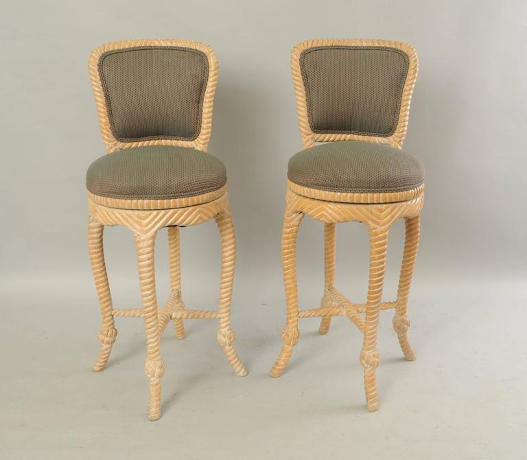 Pair of Vintage Italian Carved Wood Rope and Tassel Swivel Bar Stools Chairs For Sale 4