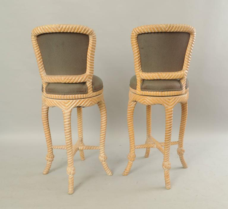 Pair of Vintage Italian Carved Wood Rope and Tassel Swivel Bar Stools Chairs 7