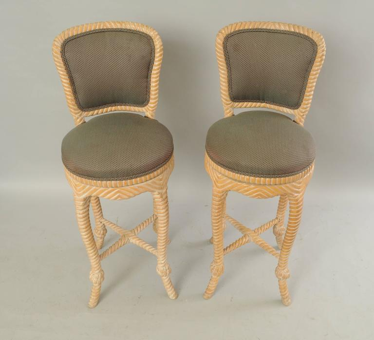 Pair of Vintage Italian Carved Wood Rope and Tassel Swivel Bar Stools Chairs 5