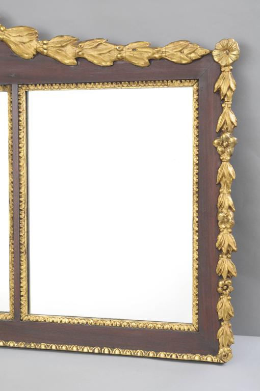 20th Century Biggs Federal Style Parcel Gilt Mahogany Three Panel Overmantel Wall Mirror For Sale