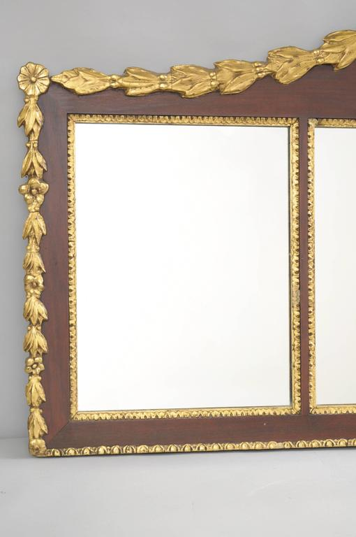 American Biggs Federal Style Parcel Gilt Mahogany Three Panel Overmantel Wall Mirror For Sale