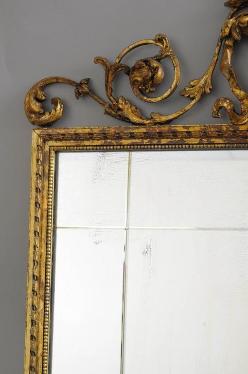 Carved Gold Giltwood and Gesso English Robert Adam Style Wall Mirror Rectangular For Sale 1