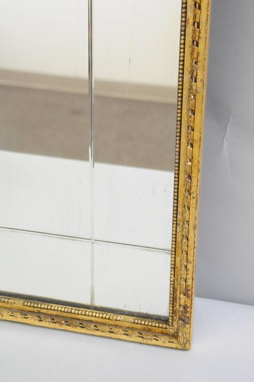 Carved Gold Giltwood and Gesso English Robert Adam Style Wall Mirror Rectangular For Sale 2