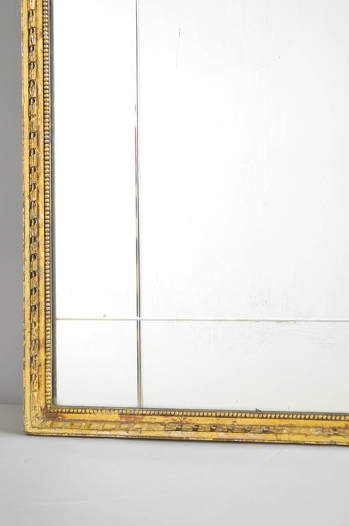Carved Gold Giltwood and Gesso English Robert Adam Style Wall Mirror Rectangular For Sale 3