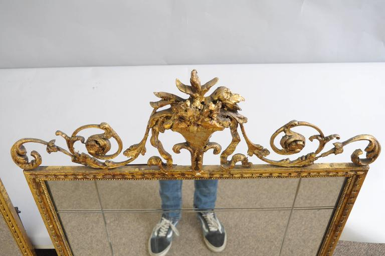 Carved Gold Giltwood and Gesso English Robert Adam Style Wall Mirror Rectangular For Sale 4