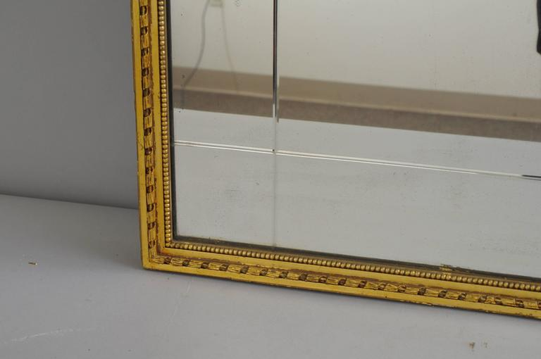 Carved Gold Giltwood and Gesso English Robert Adam Style Wall Mirror Rectangular For Sale 5