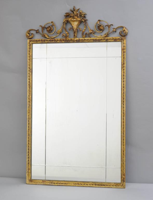 Carved Gold Giltwood and Gesso English Robert Adam Style Wall Mirror Rectangular For Sale 6