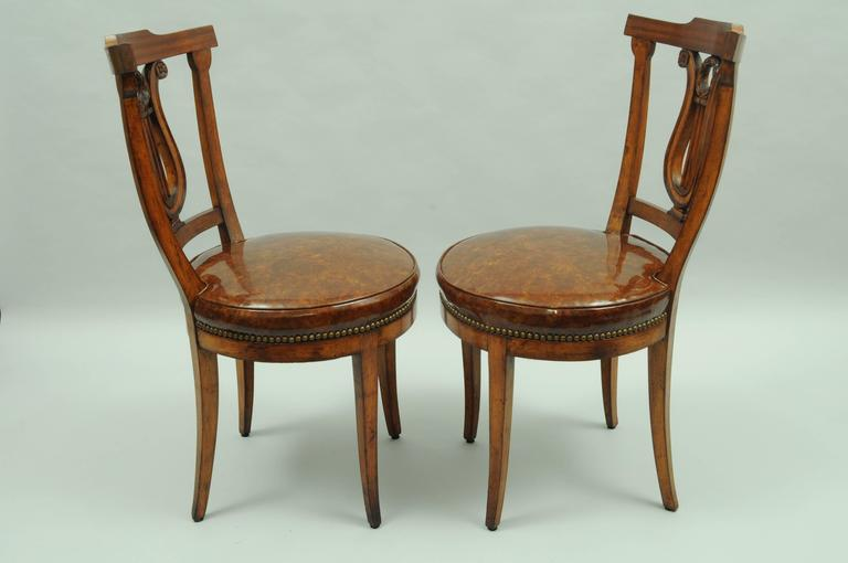 Set Of Four Carved Harp Lyre Back Regency Neoclassical Style Dining Side  Chairs In Distressed Condition
