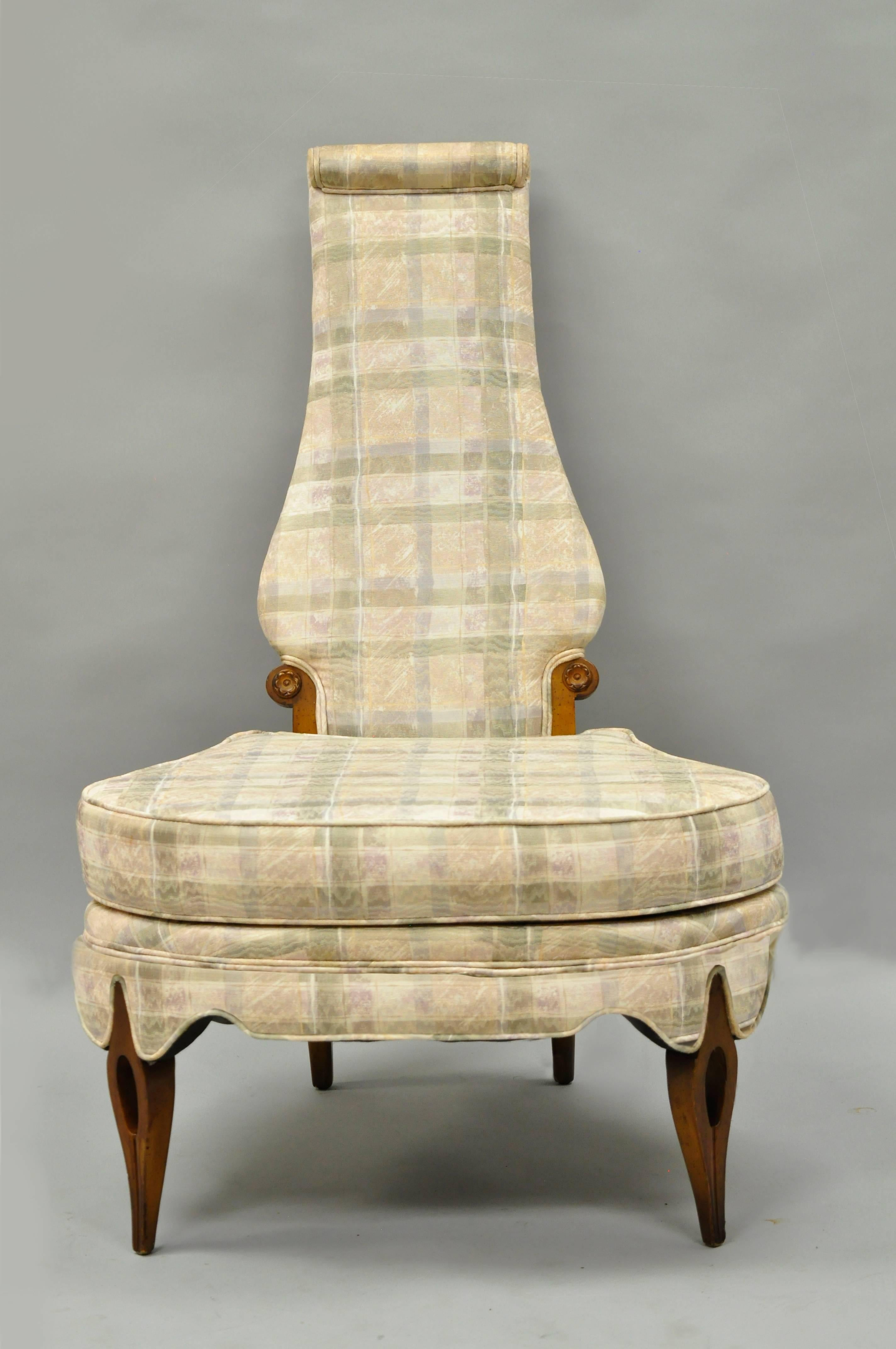 American Pair Of Hollywood Regency High Back Slipper Lounge Chairs After Dorothy  Draper For Sale