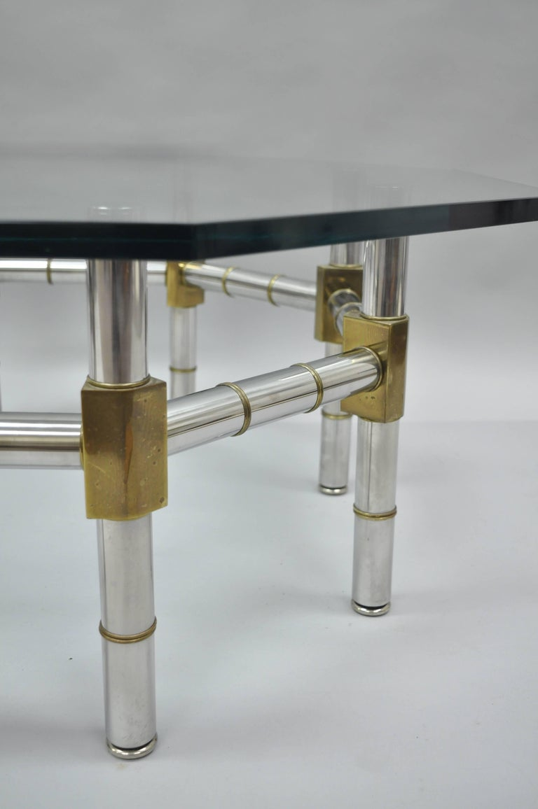 Mid-Century Modern Chrome and Brass Faux Bamboo Glass Top Octagonal Coffee Table For Sale 3
