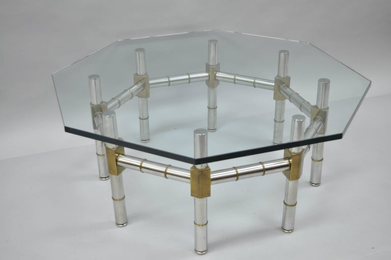 Mid-Century Modern Chrome and Brass Faux Bamboo Glass Top Octagonal Coffee Table For Sale 4