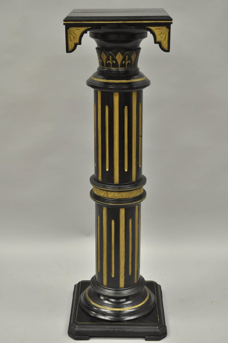 Victorian Aesthetic Column Pedestal Plant Stand Black And