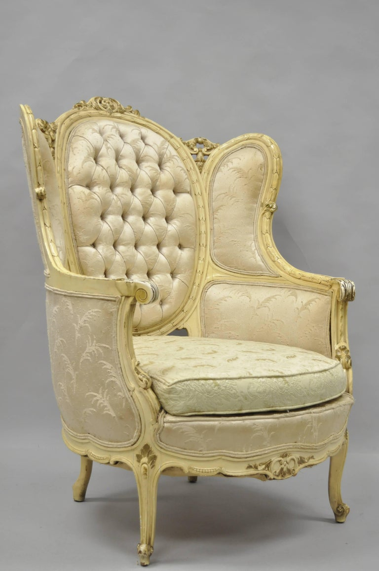 French Provincial Chair >> Antique French Louis XV Provincial Style Cream Painted ...