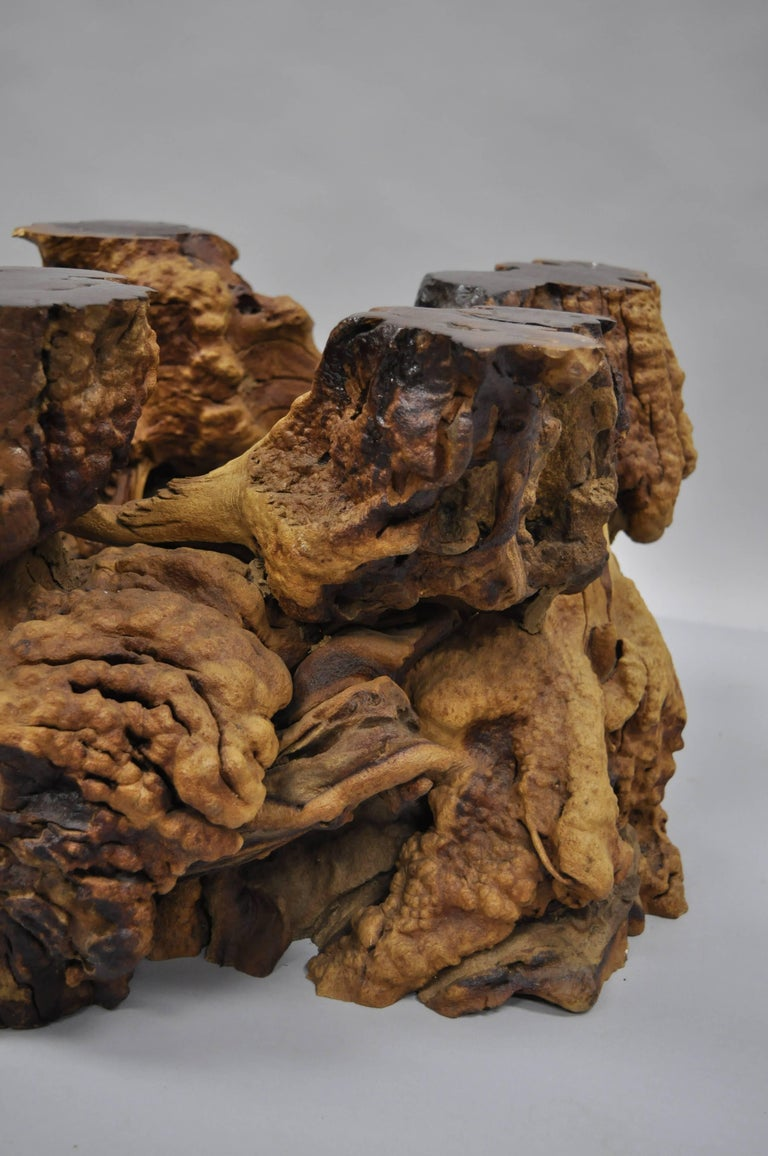 Burl Wood Free Form Driftwood Tree Branch Wood Coffee Table Base Naturalist For Sale At 1stdibs