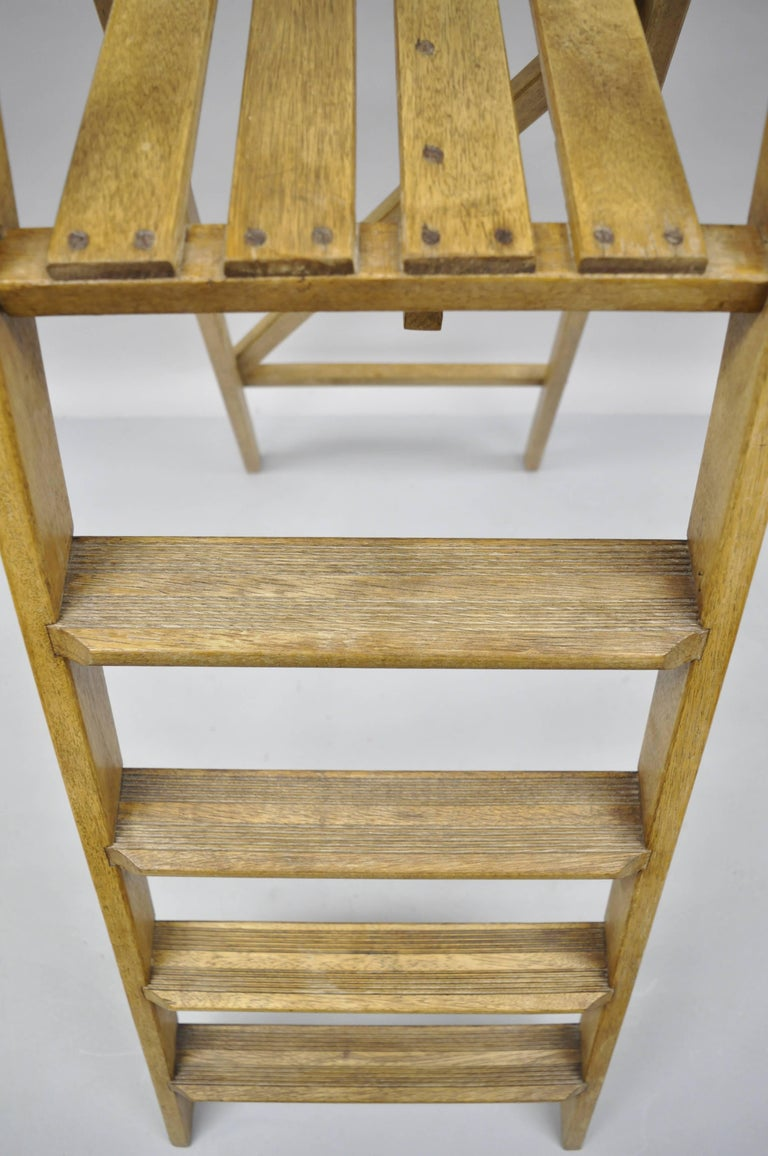 Wooden Ladder Stairs Four Step Library Book Shelf Kitchen