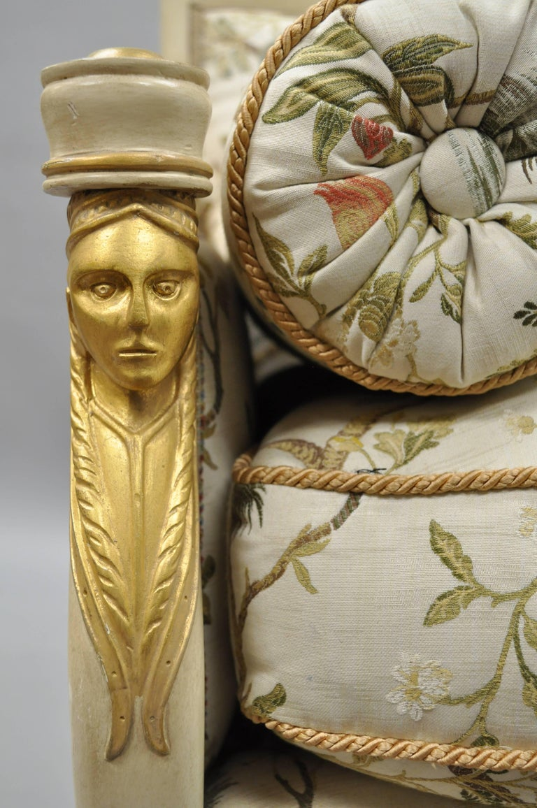 French Empire Style Settee Loveseat Sofa Cream and Gold Figural Carved Faces For Sale 4