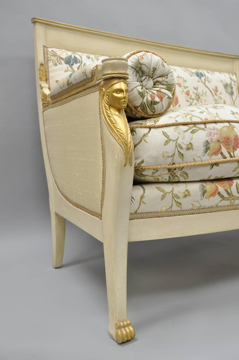 Neoclassical French Empire Style Settee Loveseat Sofa Cream and Gold Figural Carved Faces For Sale