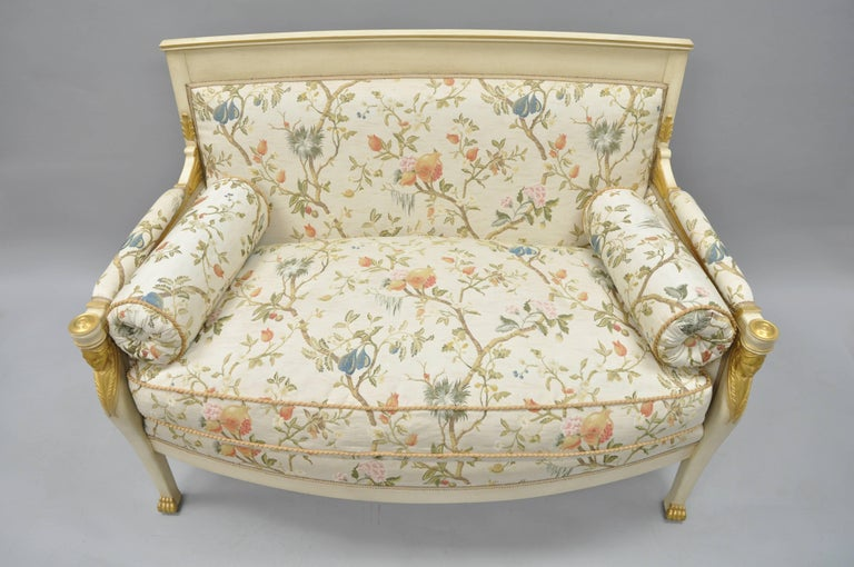 French Empire Style Settee Loveseat Sofa Cream and Gold Figural Carved Faces In Excellent Condition For Sale In Philadelphia, PA