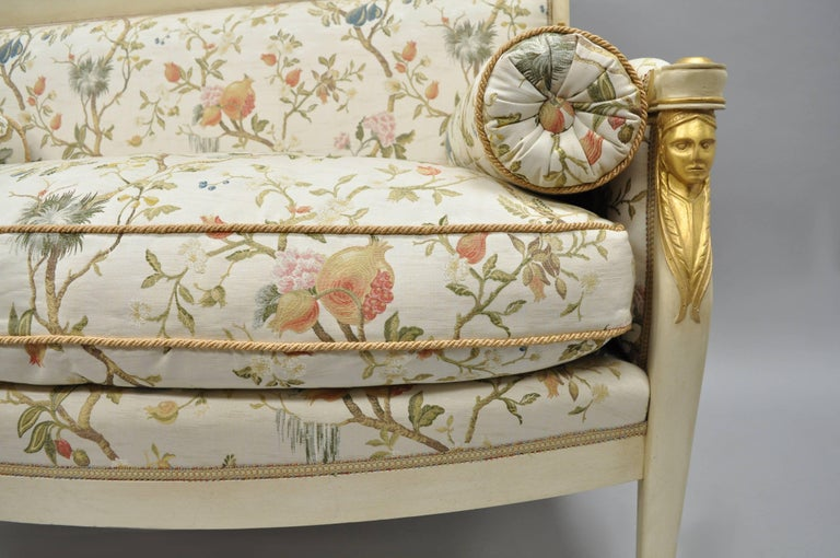 20th Century French Empire Style Settee Loveseat Sofa Cream and Gold Figural Carved Faces For Sale