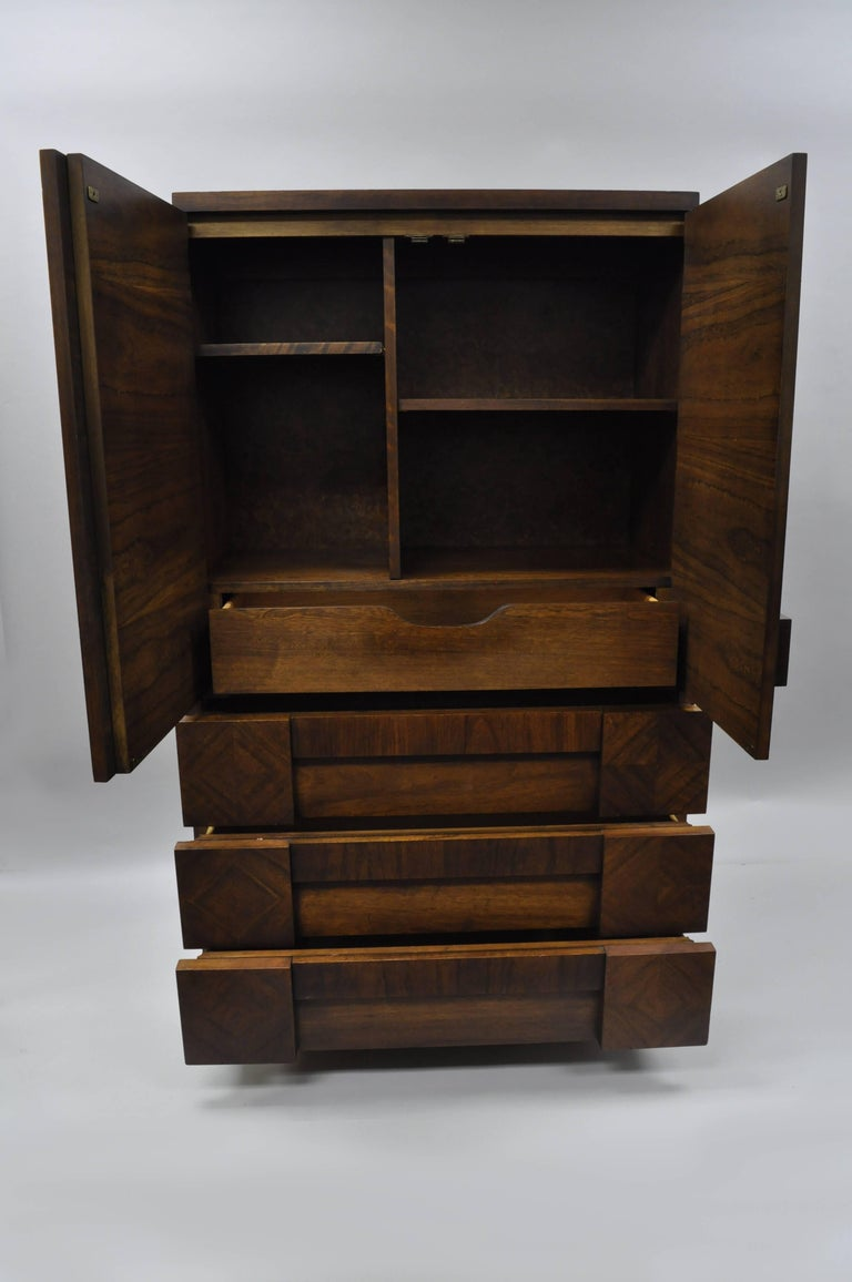Mid-Century Modern Lane Brutalist Block Front Tall Chest Gentlemans Wardrobe Modern Dresser Cabinet For Sale