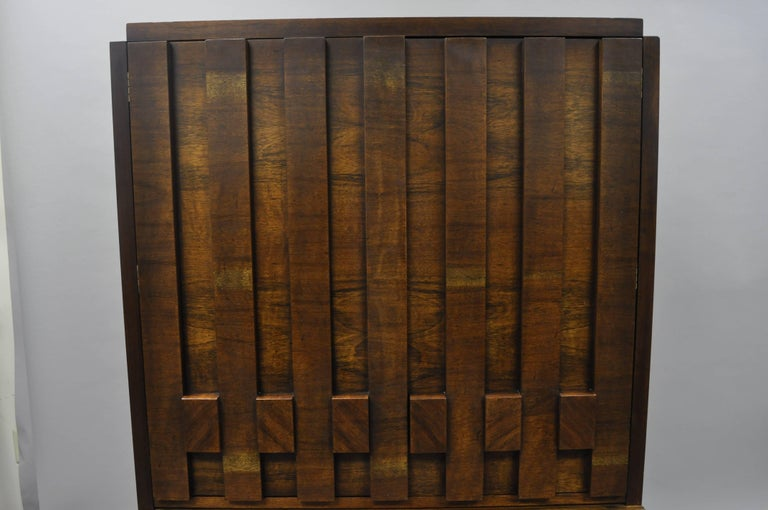 American Lane Brutalist Block Front Tall Chest Gentlemans Wardrobe Modern Dresser Cabinet For Sale