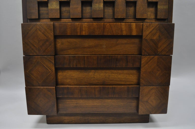 Lane Brutalist Block Front Tall Chest Gentlemans Wardrobe Modern Dresser Cabinet In Good Condition For Sale In Philadelphia, PA