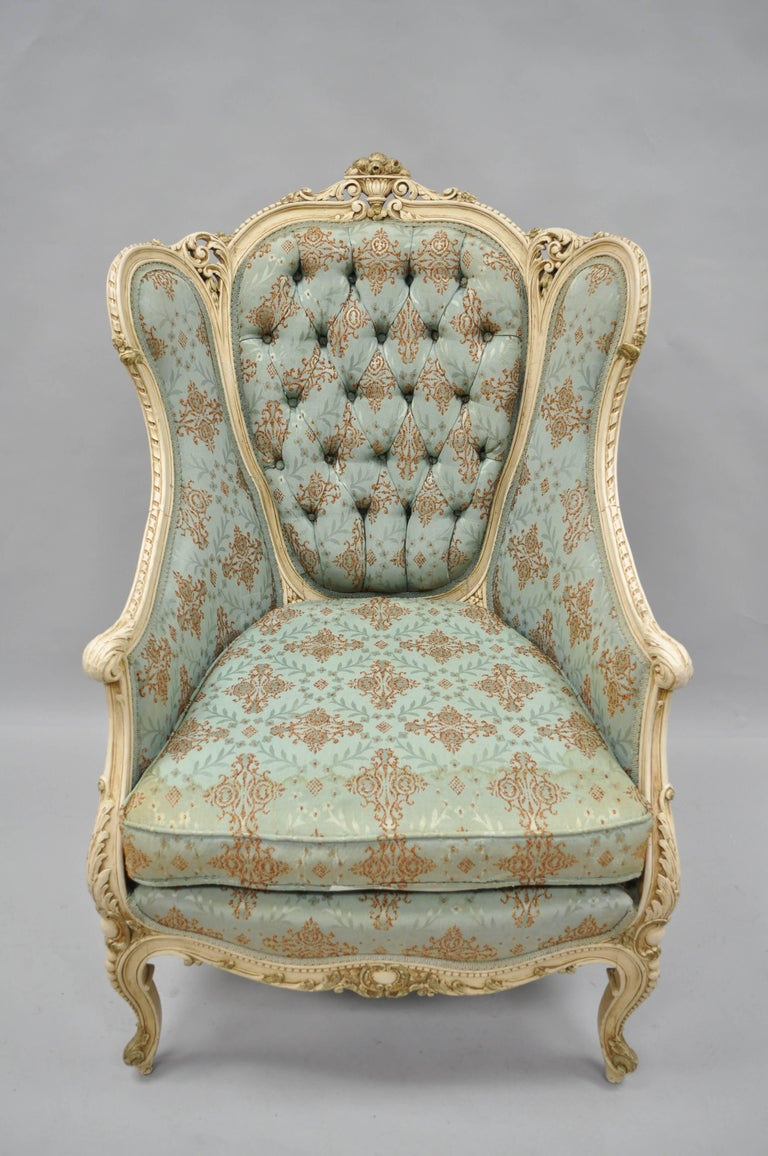 French Louis XV Provincial Style Bergere Chair Wingback Armchair Cream Painted For Sale 4