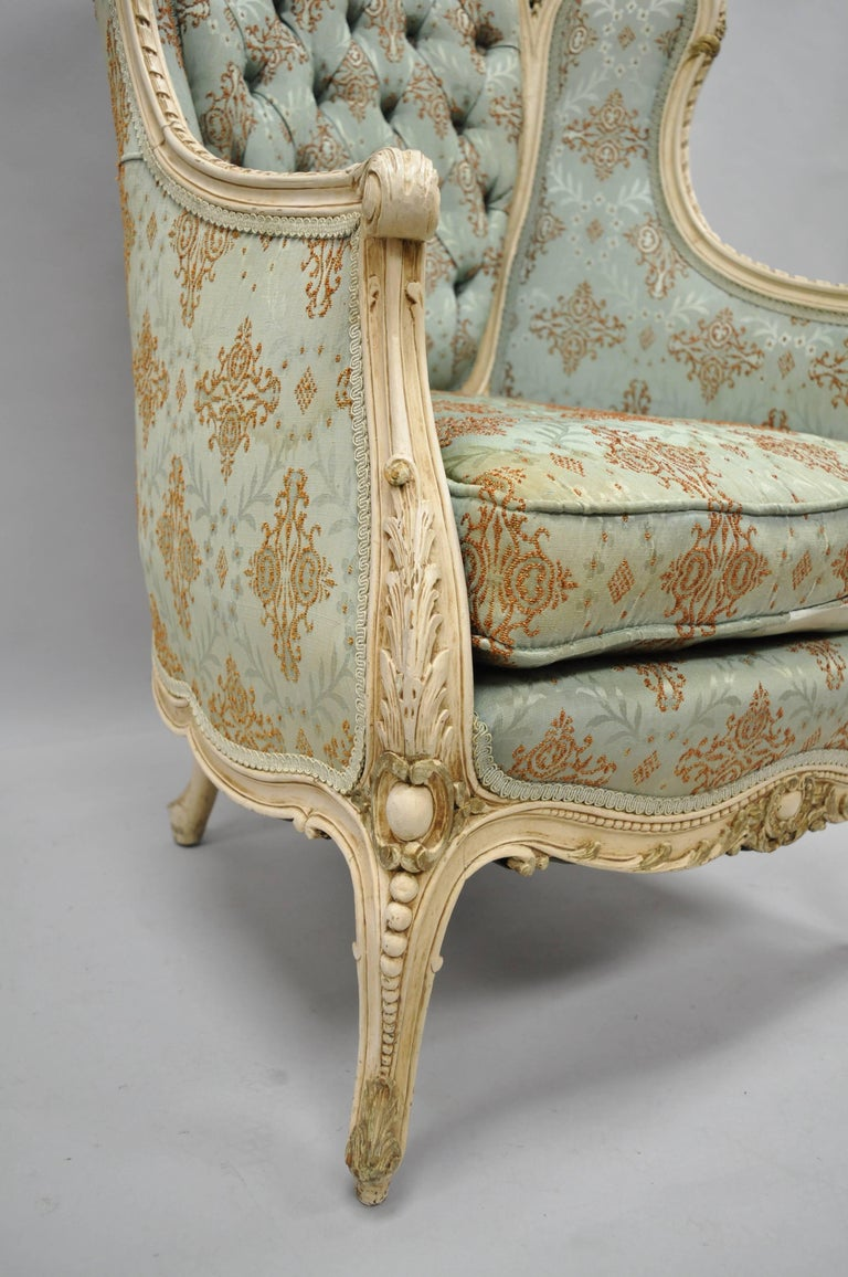 20th Century French Louis XV Provincial Style Bergere Chair Wingback Armchair Cream Painted For Sale