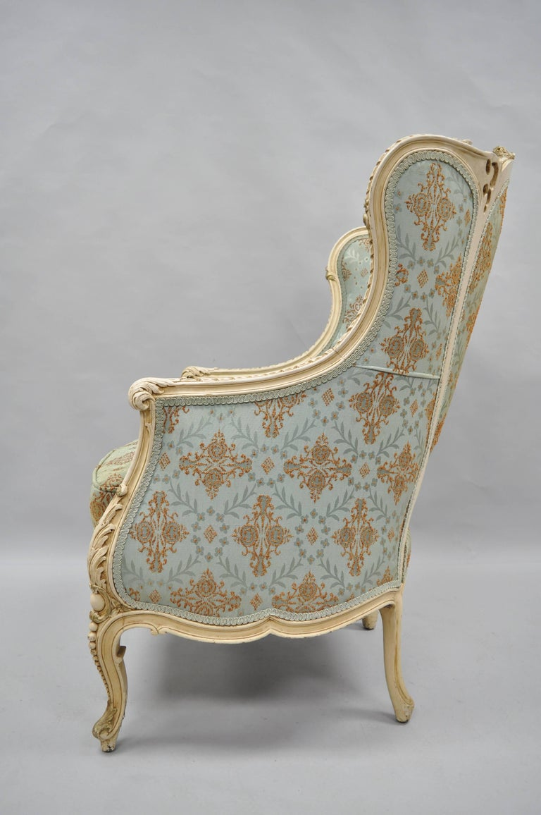 French Louis XV Provincial Style Bergere Chair Wingback Armchair Cream Painted For Sale 1