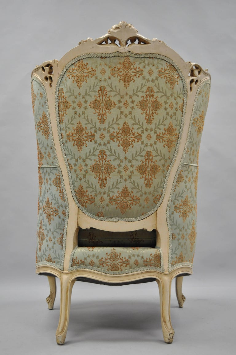 French Louis XV Provincial Style Bergere Chair Wingback Armchair Cream Painted For Sale 3