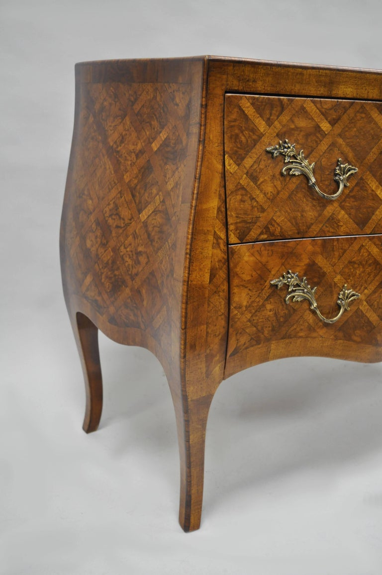 Wood Italian Bombe Commode Chest Parquetry Inlaid French Louis XV Style For Sale