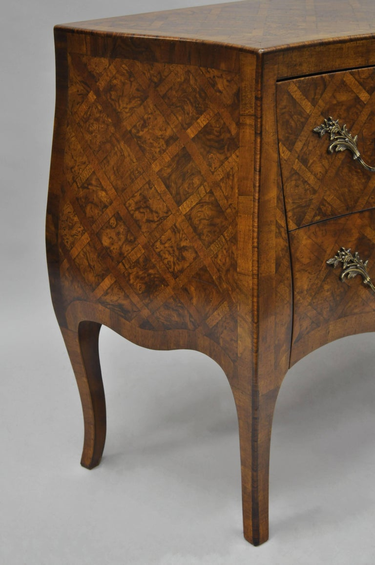 Italian Bombe Commode Chest Parquetry Inlaid French Louis XV Style For Sale 2