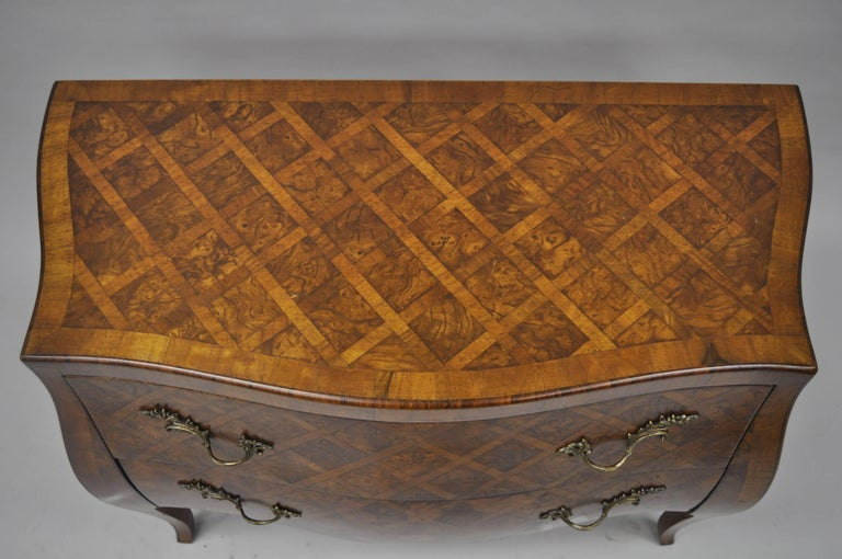 Inlay Italian Bombe Commode Chest Parquetry Inlaid French Louis XV Style For Sale