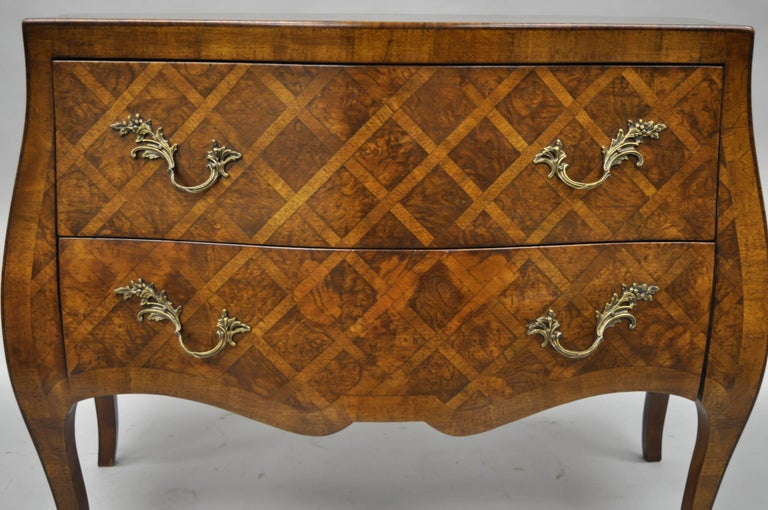 20th Century Italian Bombe Commode Chest Parquetry Inlaid French Louis XV Style For Sale