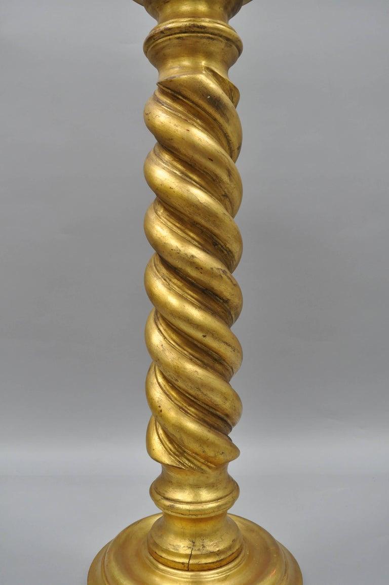 Twist Wood Columns : Italian gold leaf spiral carved column pedestal stand