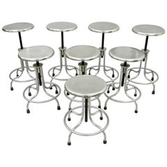 8 Vintage Stainless Steel Adjustable Metal Stools American Industrial Modern USA