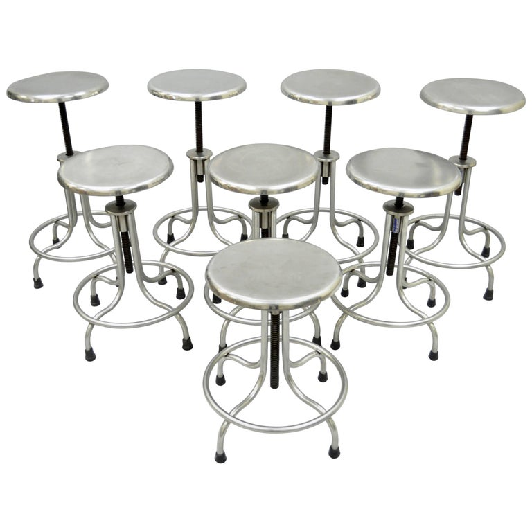 Vintage Stainless Steel Stools American Industrial Modern, Set of Eight
