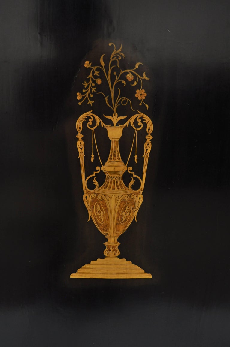 French Napoleon III Ebonized Brass Inlay Louis XVI Style Sideboard Cabinet In Good Condition For Sale In Philadelphia, PA