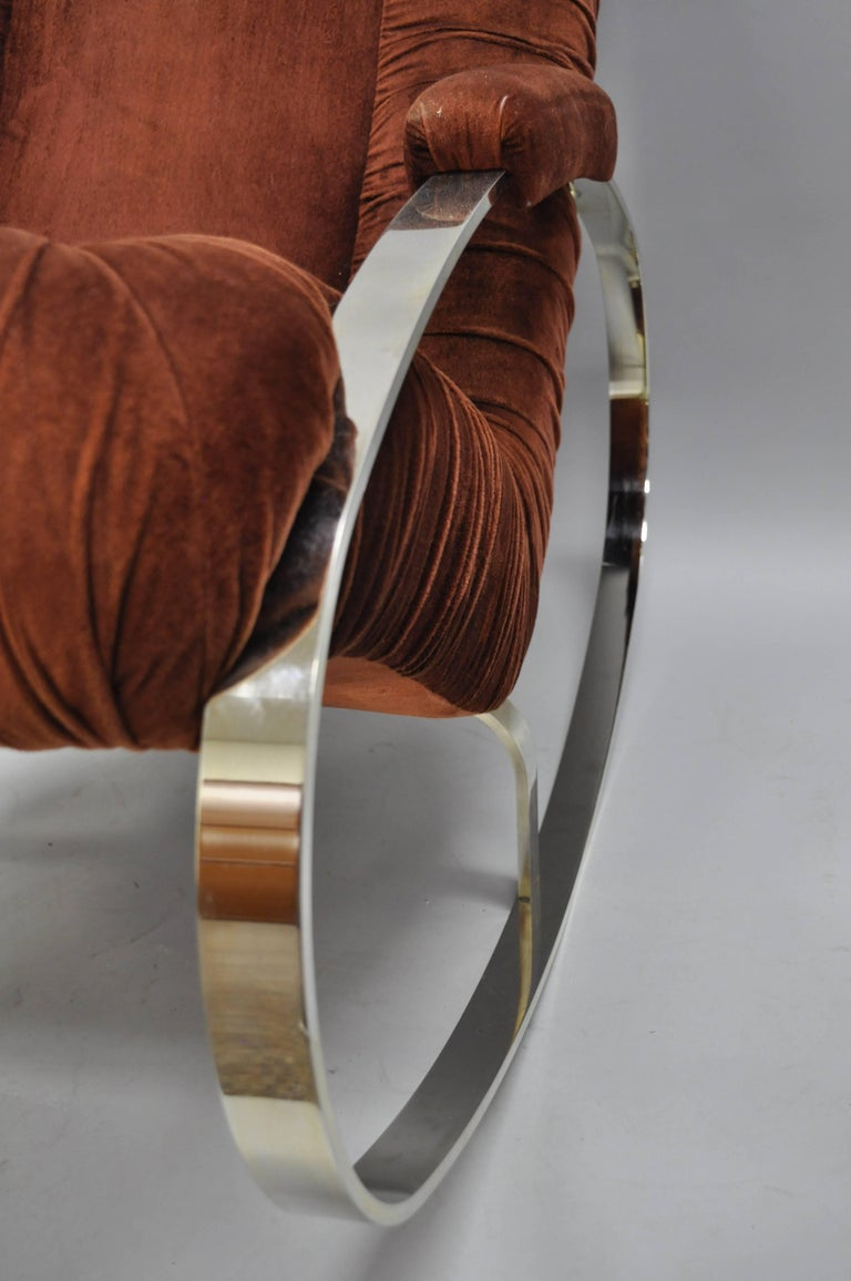 Mid Century Modern Guido Faleschini Chrome & Brass Rocking Chair In Good Condition For Sale In Philadelphia, PA