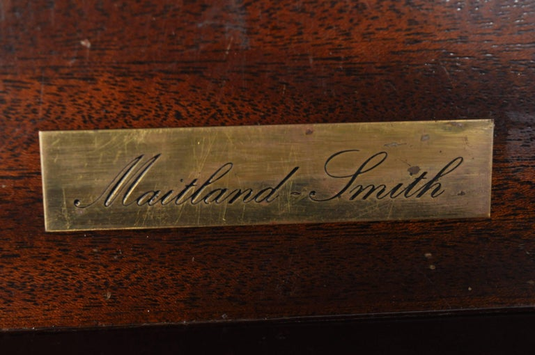 Maitland Smith Mahogany Green Leather Top Chippendale Executive Partners Desk For Sale 6