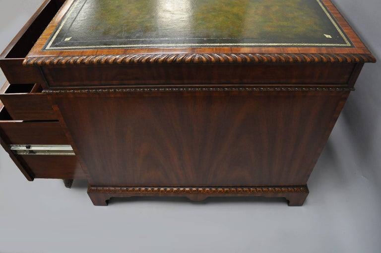 Maitland Smith Mahogany Green Leather Top Chippendale Executive Partners Desk For Sale 2