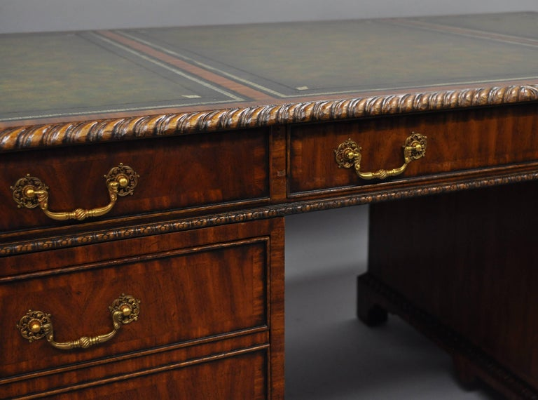 Maitland Smith Mahogany Green Leather Top Chippendale Executive Partners Desk For Sale 4