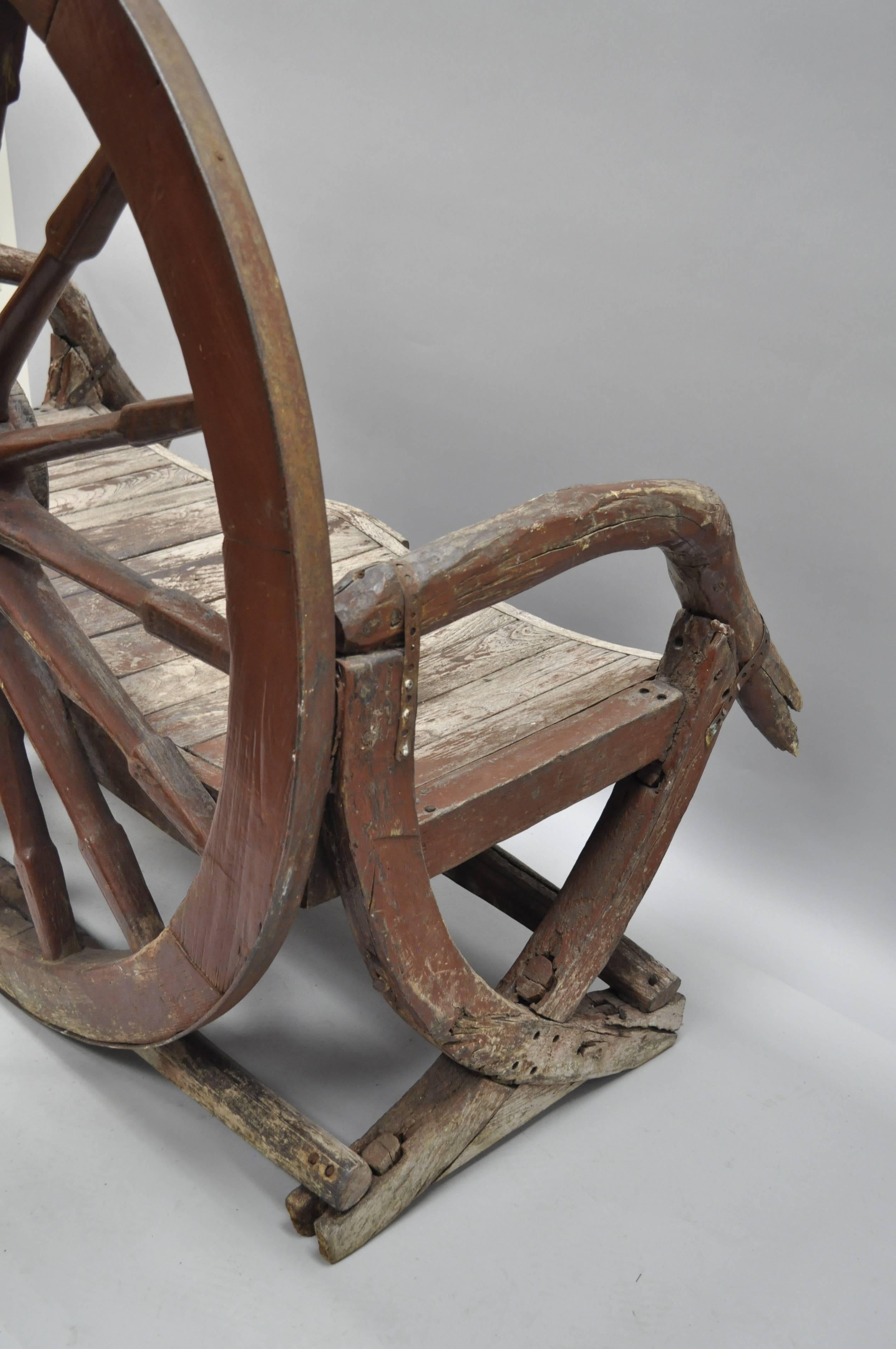 Iron Antique Primitive Conestoga Wagon Wheel Red Bench Large Rustic Wooden  Seat For Sale
